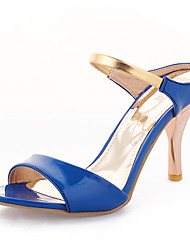 Women's Heels Spring Summer Fall Club Shoes PU Office & Career Party & Evening Dress Stiletto Heel Black Blue White Peach