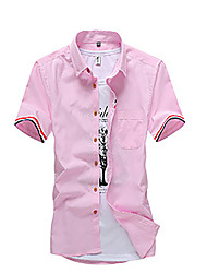 Men's Casual/Daily Simple Summer Shirt,Solid Shirt Collar Short Sleeve Blue Pink Red White Cotton Medium