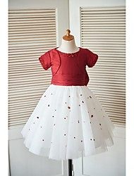Princess Knee-length Flower Girl Dress - Taffeta Tulle Short Sleeve Scoop with Beading Bow(s) Sequins