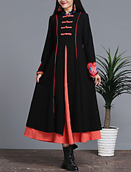 Sign compete. II women's national wind embroidery 2016 new winter Ruyi collar dress was thin