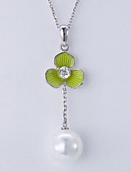 Pendant Necklaces Pearl Imitation Pearl Basic Dangling Style Silver Jewelry Daily Casual 1pc