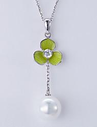 Pendentif de collier Perle Imitation de perle Basique Pendant Européen Argent Bijoux Pour Quotidien Décontracté 1pc