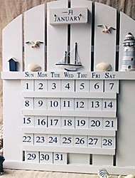 Wall Decor Wood Modern Wall Art White Lighthouse Seabird Calendar