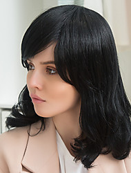 Elegant Partial Bangs Black Long Hair Glamorous Human Hair Wig