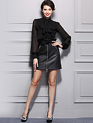 Women's Work Street chic Spring Blouse,Solid Crew Neck Long Sleeve Black Polyester Opaque Thin