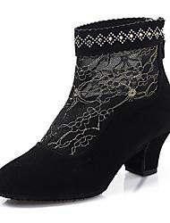Sapatos de Dança(Preto Vermelho) -Feminino-Não Personalizável-Botas de Dança
