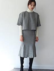 корейские модели торговых пружинные шикарная ломаный с короткими рукавами + пакет бедра юбка рыбьего хвоста разделить ложную