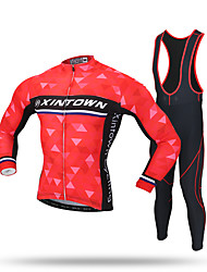 XINTOWN Cycling Jersey with Tights Men's Long Sleeves Bike Jersey Bib Tights Pants/Trousers/Overtrousers Tracksuit Zip Top Tops Moisture