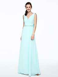 2017 Lanting Bride® Floor-length Chiffon Elegant Bridesmaid Dress - A-line V-neck with Beading Pleats
