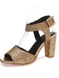 Damen-Sandalen-Kleid Lässig Party & Festivität-Glanz maßgeschneiderte Werkstoffe-Blockabsatz-Club-Schuhe-Lila Rot Silber Gold
