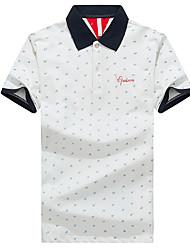 Herren Solide Punkt Retro Einfach Street Schick Lässig/Alltäglich Strand Sport Polo,Quadratischer Ausschnitt Sommer Kurzarm Blau Weiß