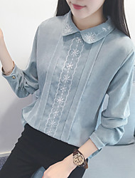 знак 2017 весной новый кукла воротник рубашки вышитые вельвет рубашка