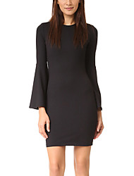 Women's Flare Sleeve Work Party Sexy Simple Street chic Bodycon Sheath Little Black Dress,Solid Round Neck Above Knee Long Sleeve Black