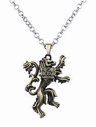 Homme Femme Pendentif de collier Bijoux Forme d'Animal Lion Alliage Circulaire Original Logo Pendant Argent Bronze Bijoux Pour Halloween