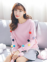 Sign new cute girl College Wind long-sleeved wool sweater female solid ball