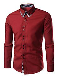 Men's Casual/Daily Simple Spring Fall Shirt,Check Button Down Collar Long Sleeves Cotton