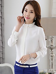 Women's Ruffle Going out Casual/Daily Work Simple Cute Blouse,Solid Stand Long Sleeve White Green Polyester