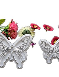 2Pcs/Lot Hot Butterfly Cake Fondant Decorating Cookie Plunger Cutters Mold Cake Tools Plastic Fondant Mould