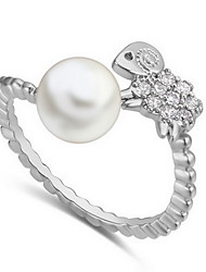 Ring Zircon Cubic Zirconia Alloy Natural White Bronze Jewelry Daily 1pc