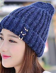 mulheres outono inverno mais cashmere trecho de malha de lã cor sólida além de veludo chapéu morno