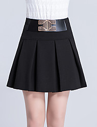 Women's Plus Size A Line Swing Solid Pleated Layered Skirts,Going out Casual/Daily Sexy Simple Cute High Rise Above Knee Elasticity Cotton
