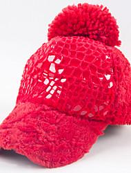 женщины зимы блестки пушистый сплошной цвет бейсбол зимой теплую шапку