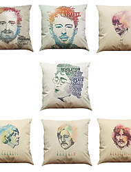 Set of 7 People pattern Linen  Cushion Cover Home Office Sofa Square  Pillow Case Decorative Cushion Covers Pillowcases