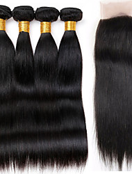 Vinsteen 8A Cuticle Brazilian Hair Bundles Straight Hair Weaves 4 Bundles With Lace Closure 8-30inch Natural Color Double Weft Human Hair Extensions