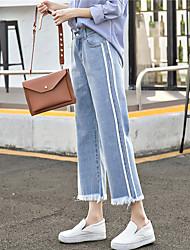 assinar na Primavera de 2017 após o elástico da cintura jeans largo aluna coreana foi calças de pernas largas finas nove pontos rebarba