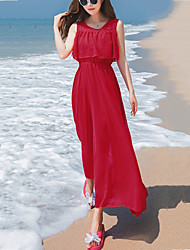 Women's Beach Holiday Boho Slim Elegant Ruffle Chiffon Dress Solid Round Neck Maxi Sleeveless Summer Mid Rise Micro-elastic Thin