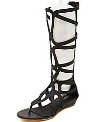 Sandals Summer Gladiator PU Casual Flat Heel Plaid Black Gold