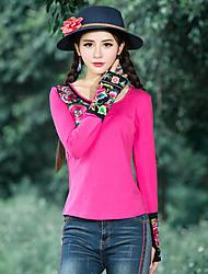 Damen Solide Patchwork Retro Boho Chinoiserie Ausgehen Lässig/Alltäglich Urlaub T-shirt,Rundhalsausschnitt Frühling Herbst LangarmBlau
