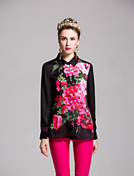 by Megyn Women's Going out Cute Spring Summer ShirtFloral Notch Lapel Long Sleeve White Black Polyester