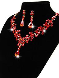 Jewelry Set Jewelry Simulated Diamond Alloy Unique Design Dangling Style Pendant Adorable Euramerican Bridal Jewelry White RedPendant