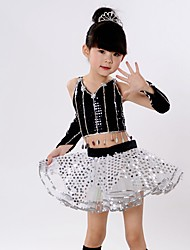 Jazz Outfits Children's Performance Chinlon Organza Sequins Tiers 5 Pieces Sleeveless Natural Top Skirt Bracelets Headpieces
