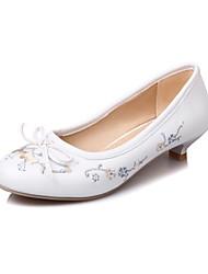Women's Heels Spring Summer Fall Winter Other PU Office & Career Dress Casual Low Heel Bowknot Flower Black Blue Pink White