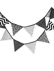 3.3m 12Flags Black And White Pattern Banner Pennant  Cotton Bunting Banner Booth Props Photobooth Birthday Wedding Party Decoration