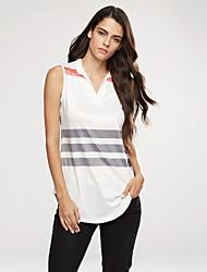 Damen Gestreift Einfach Ausgehen / Lässig/Alltäglich T-shirt,V-Ausschnitt Sommer / Herbst Ärmellos Weiß / Mehrfarbig Polyester