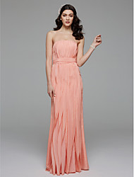 LAN TING BRIDE Floor-length Strapless Bridesmaid Dress Sleeveless Chiffon