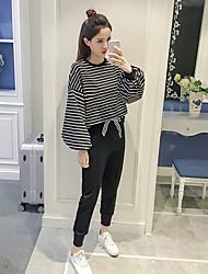 знак 2017 весной новые женщины корейского рыхлый большого фонаря рукав полоса круглого свитер шеи мода прилив