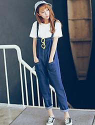 Hitz strap jeans female Korean Institute of wind loose big yards sling denim long pants