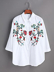 Women's Going out Casual/Daily Cute Spring Summer T-shirt,Embroidered Round Neck Long Sleeve Cotton