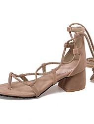 Sandalen-Kleid Lässig-Vlies-Blockabsatz-Knöchelriemen-Schwarz Gelb Grau