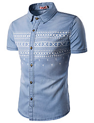 Men's Casual/Daily Simple Summer Shirt,Color Block Shirt Collar Short Sleeve Blue Cotton Rayon Thin