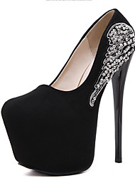 Women's Heels Spring Club Shoes Fleece Dress Stiletto Heel Rhinestone Black