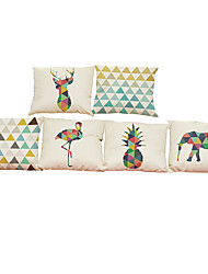 Set of 6Geometric animal pattern  Linen Pillowcase Sofa Home Decor Cushion Cover