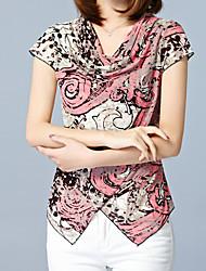 Tee-shirt Femme,Motif Animal Décontracté / Quotidien Travail Grandes Tailles simple Sophistiqué Eté Manches Courtes Revers Cranté Rose
