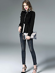 Women's Work Sophisticated Spring Blouse,Patchwork Round Neck Long Sleeve White Black Silk Thin
