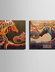 E-HOME Stretched Canvas Art Jumping Colored Horse Decoration Painting One Pcs