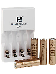 fb FB12 aa batterie rechargeable à hydrure métallique de nickel 1.2V 2300mAh 4 paquet